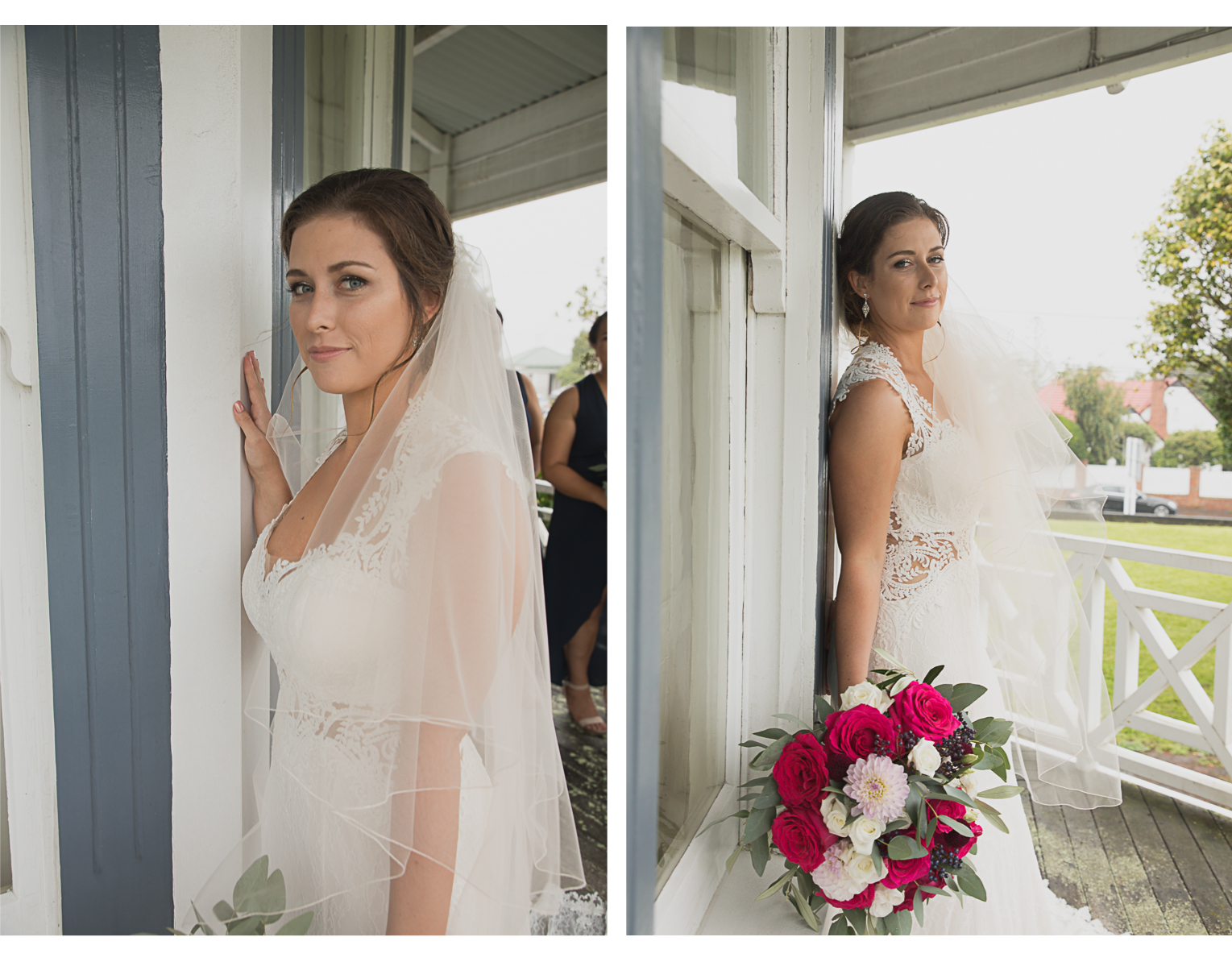 Bride on veranda of old villa in Auckland city