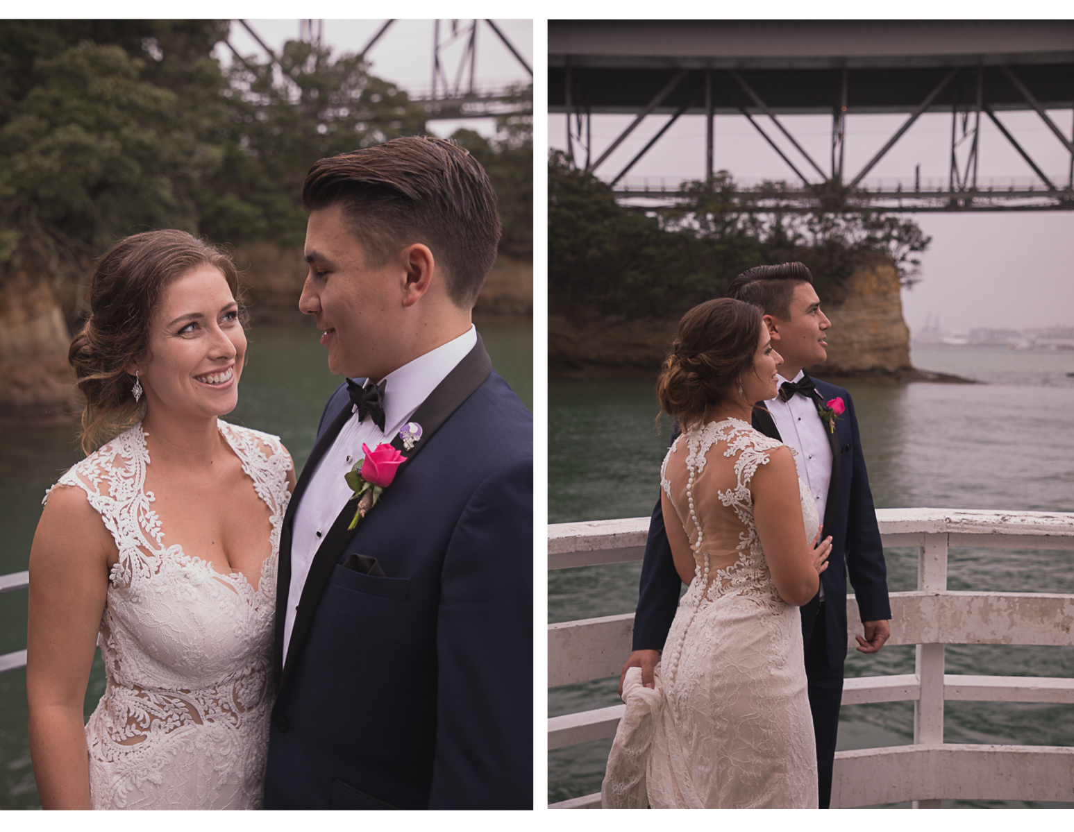 bride and groom together under Auckland Harbour Bridge