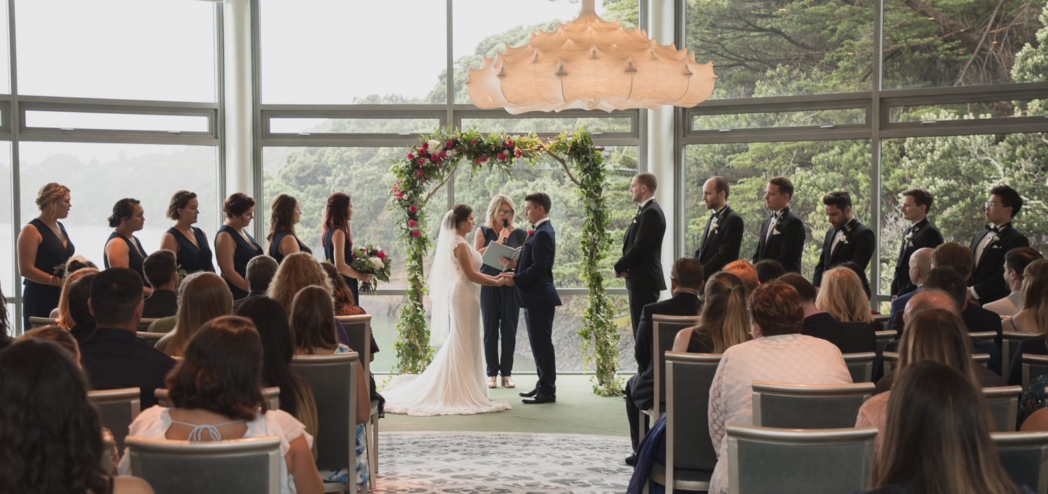 wedding ceremony overlooking Auckland Harbour