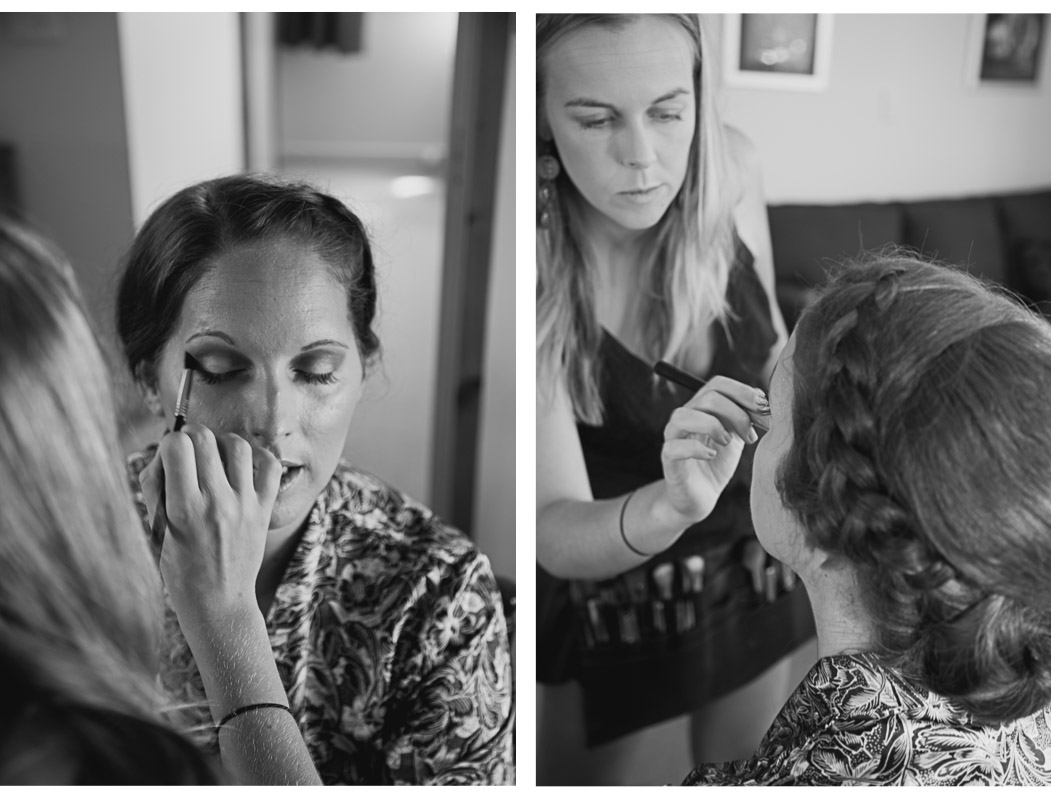 bride having makeup done on wedding day