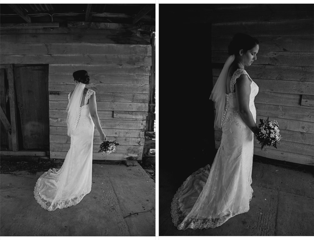 bride in wedding dress in old barn