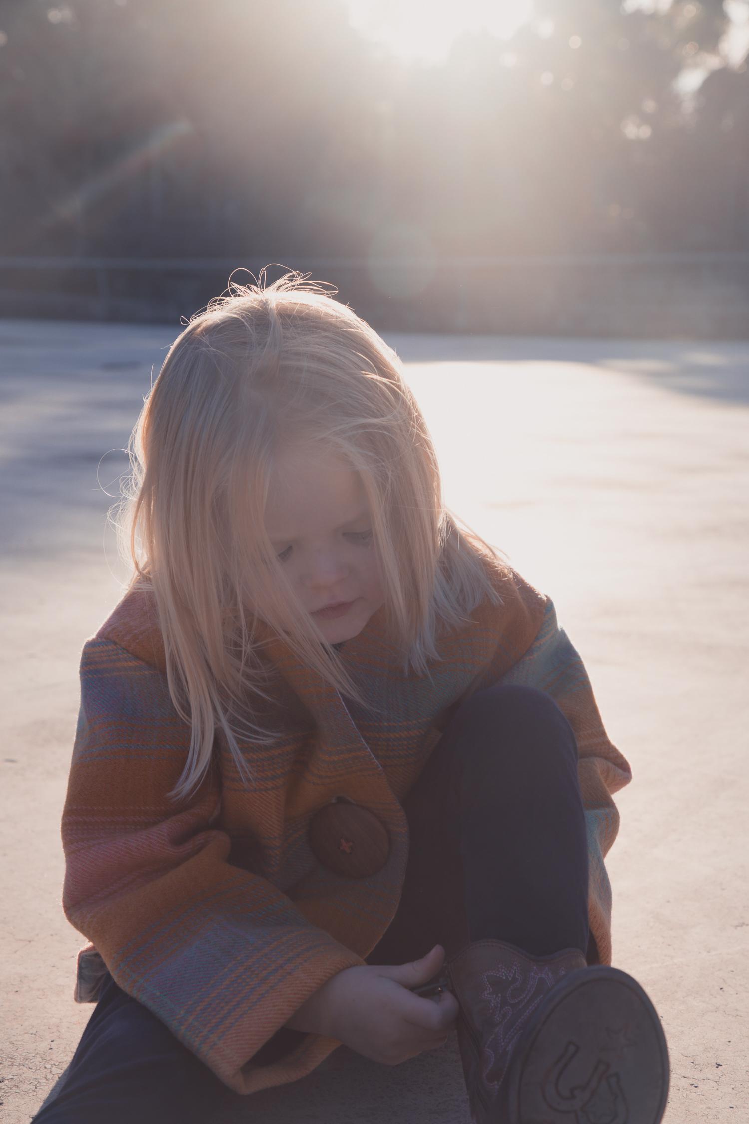 little girl wearing wool jacket