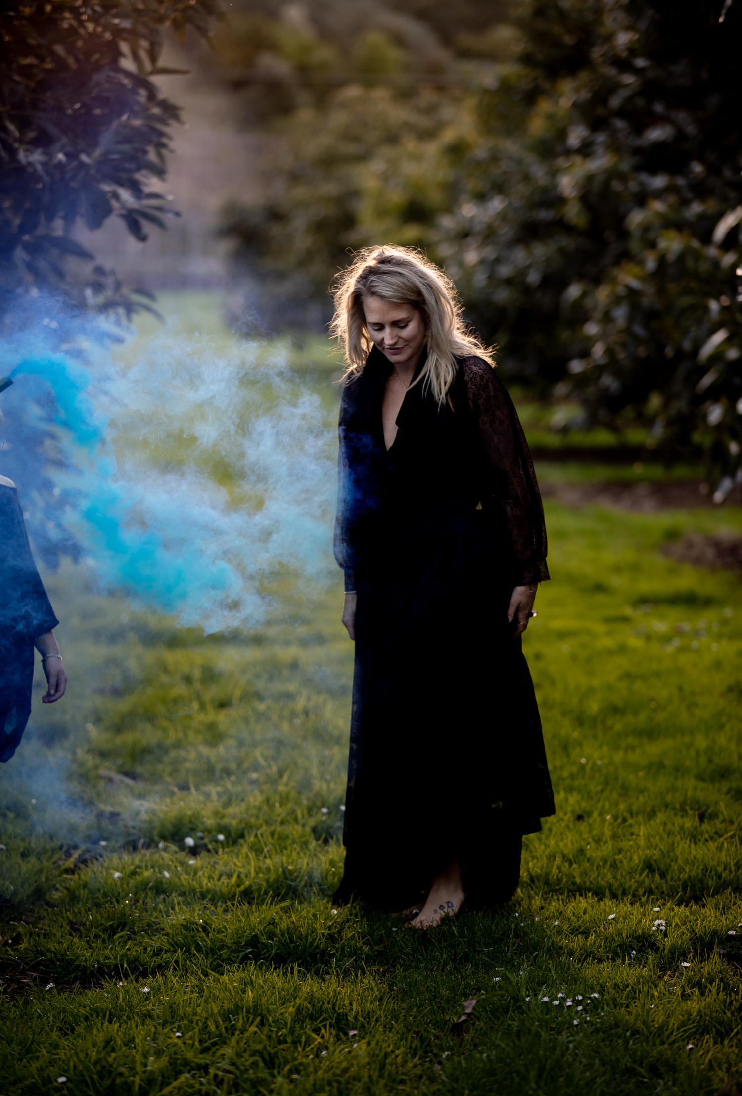 blue smoke bomb and laura