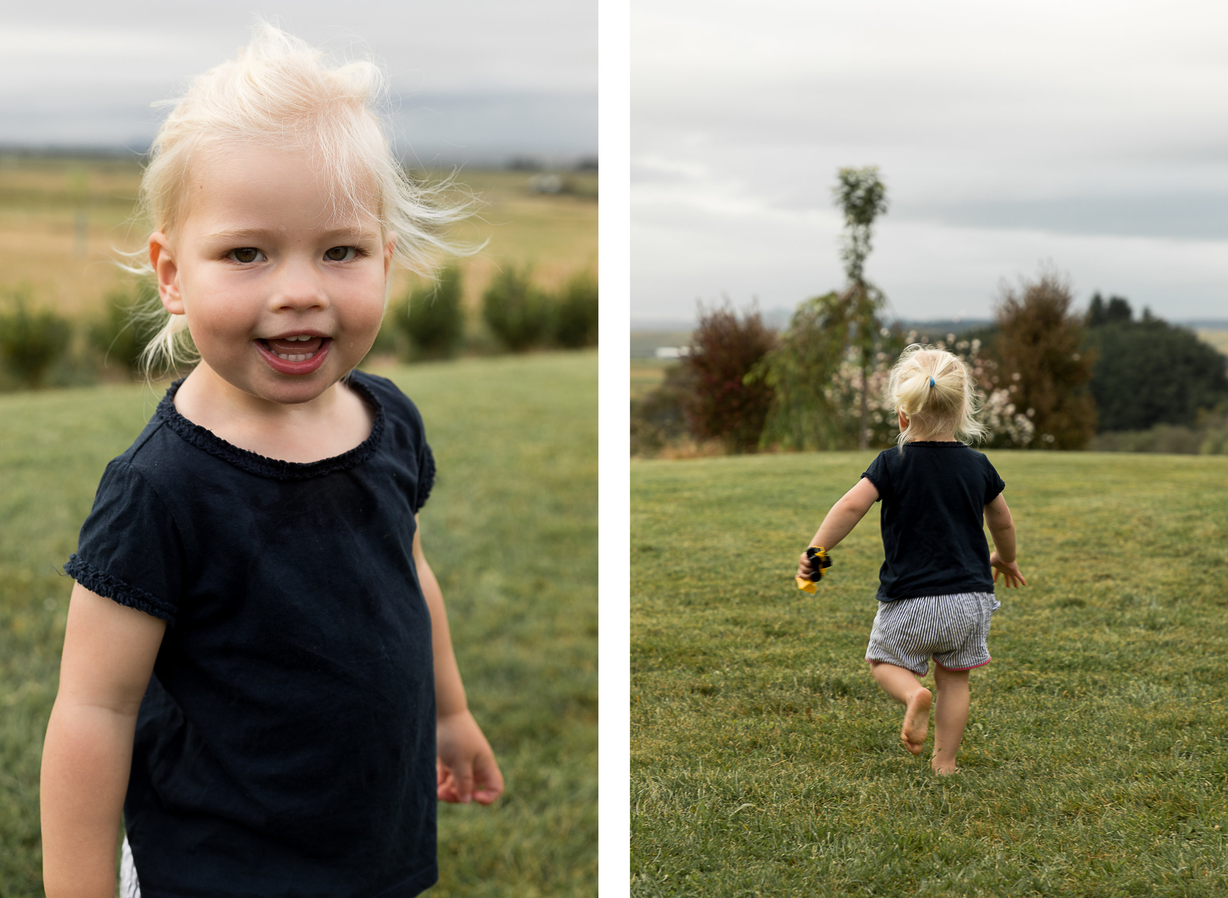 little girl running around on the grass at home