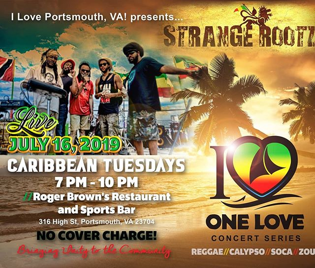 Excited to be apart of The One Love Concert Series.... Caribbean Tuesday a gwaan in Portsmouth!  @rogerbrowns Sports Bar 7-10pm 🔥🔥🔥 #strangerootz #rogerbrowns #carribeantuesdays #oneloveconcertseries  #iloveportsmouth  #reggaeroots