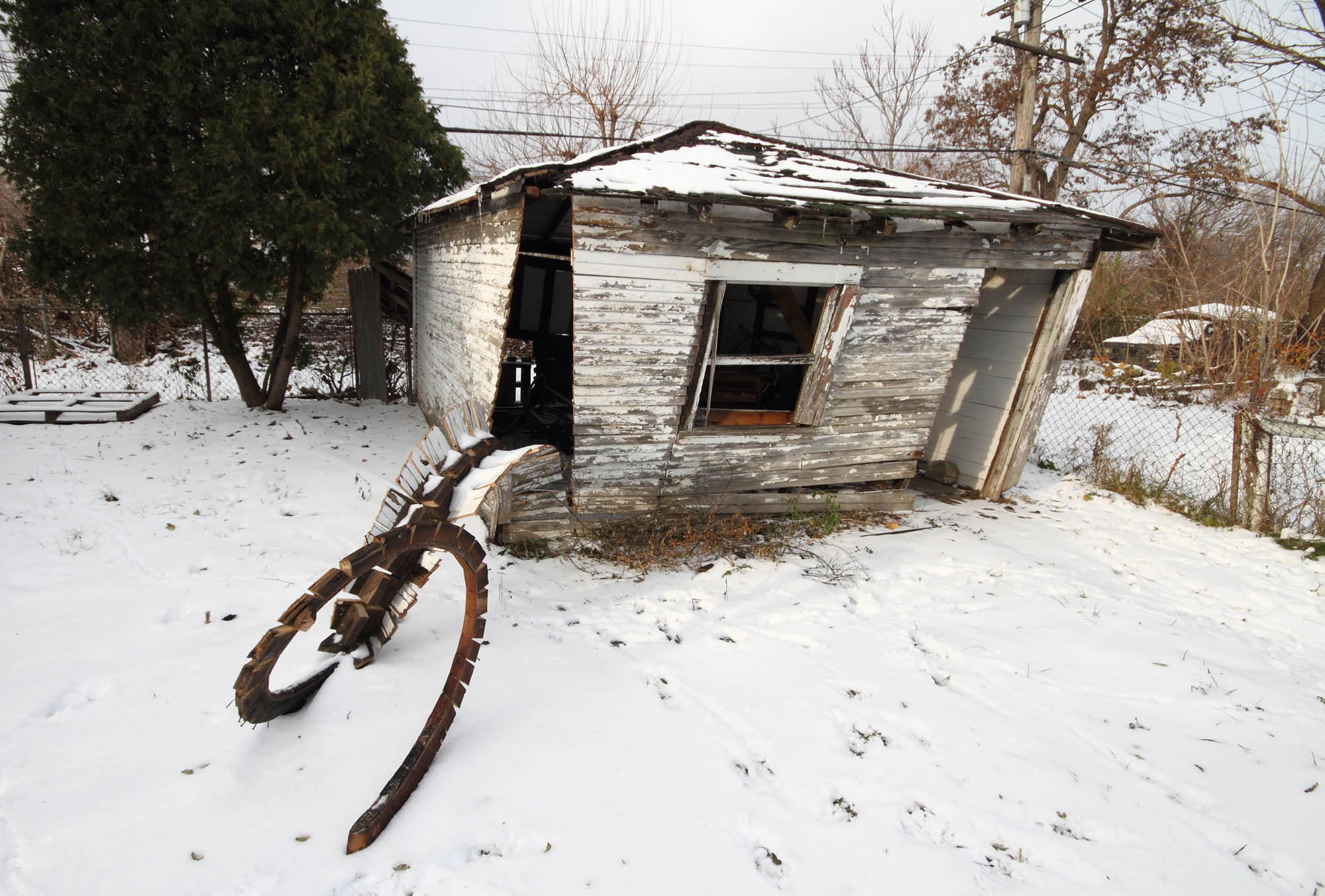 Shed cut snow - Wooden shed - Detroit Residency - 2104