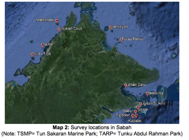 The survey sites around Sabah, 2017.