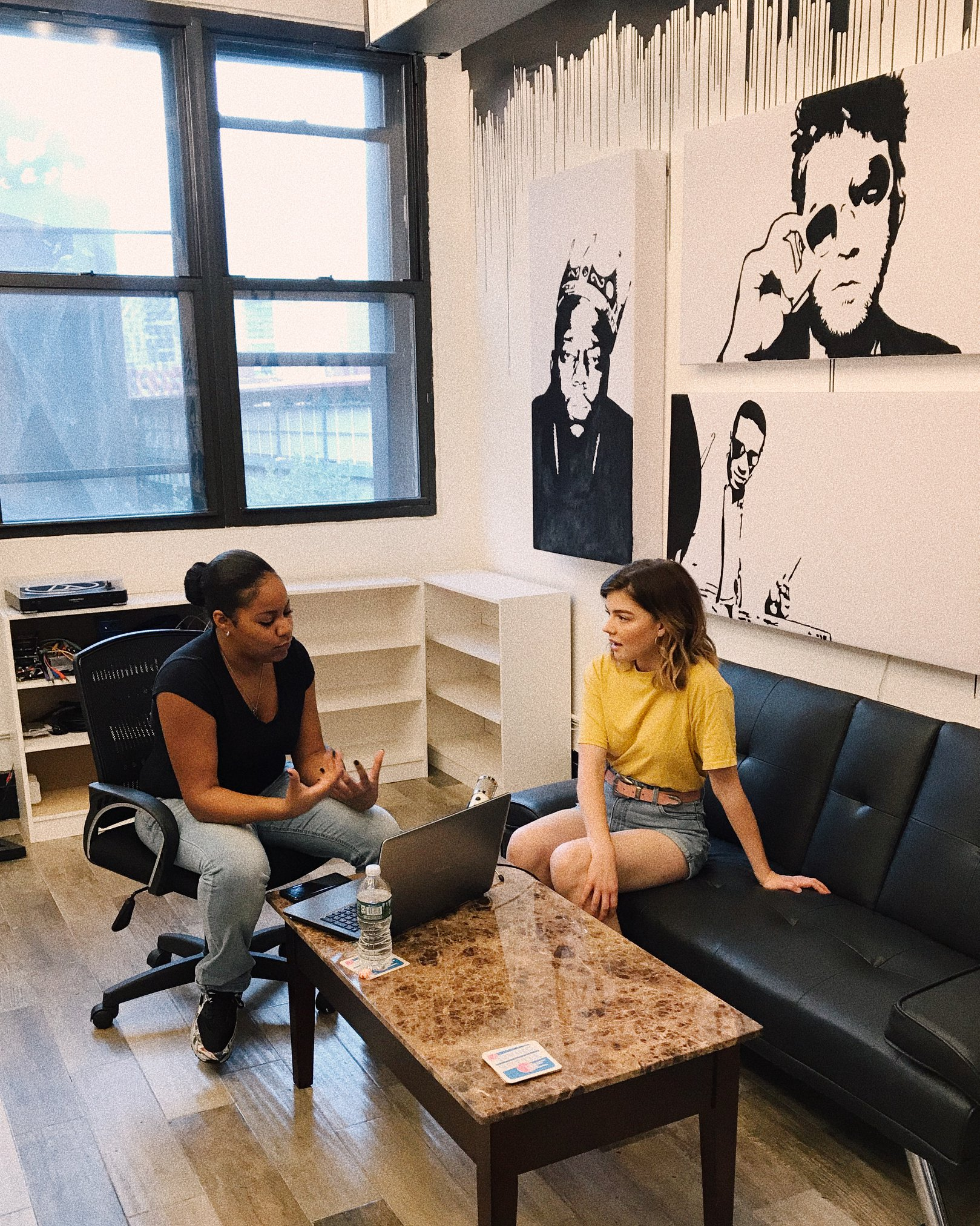jessica whitaker being interviewed about build + bloom for a podcast at brooklyn commons