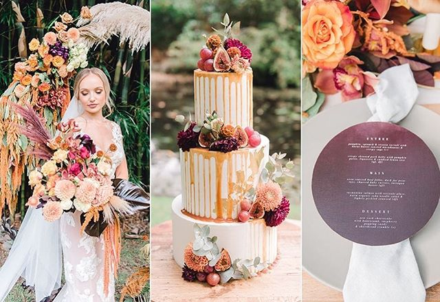 Published in @weddingplaybook this stunning styled shoot set inspiration with a tropical sunset palette and modern bohemian vibe 🌾 #perfection 👌⠀ ⠀ The Dream Team👇⠀ Photography: @joy.philippephotography ⠀ Venue: @solgardenweddings⠀ Celebrant: @laker_celebrant ⠀ Flowers: @BunchItUp ⠀ Furniture: @TableJewelsweddingstylists⠀ Stationery: @LittleGreenLeaf_aus⠀ Cake: @thecakehousecompany ⠀ Wedding Dress: @goddessbynature  Jewellery: @lovelarajewellery ⠀ Hair & Makeup: @yentlmua  Suit: @whenfreddiemetlilly ⠀ Models: Tiann & Jared