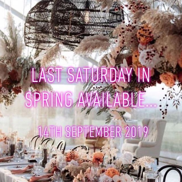 Our 2019 dates are filling fast 💕 we have a popular date come available Saturday, 14th September 2019. Contact us today to enquire - see link in bio xo