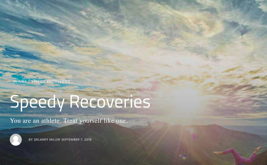 """Speedy Recoveries  - We've all heard it: """"Climbing is a dangerous sport."""" Of course we should always exercise caution and adhere to the best safety practices, but we can be injured even when we do everything right. Your muscles, tendons, ligaments, and nerves are all at risk for chronic breakdown and injury from overuse. Injuries and pain can limit your enjoyment of our great sport and even shorten your athletic or recreational career. Bottom line, climbing is an athletic activity and you need to treat yourself like an athlete."""