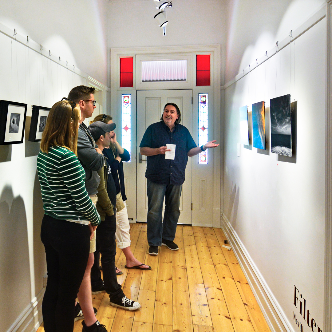 Neville Cichon discussing his work at City of Onkaparinga's Sauerbier House.  Photo courtesy of Kevin Hamdorf