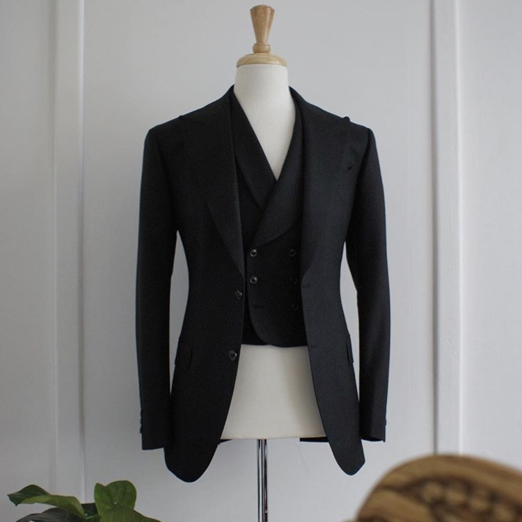 Black cavalry twill suit by SD