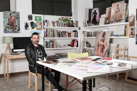 Maurizio in his studio in Berkshire