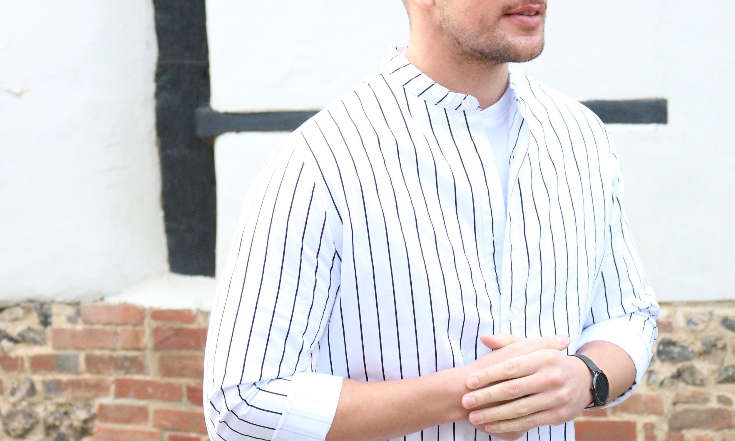 Stripe Shirt with Grandad Collar