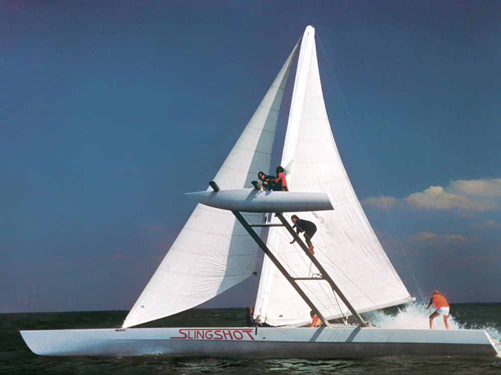 In 1980, the Harken brothers joined in a collaborative syndicate named  Slingshot , with the goal of breaking the world speed sailing record.