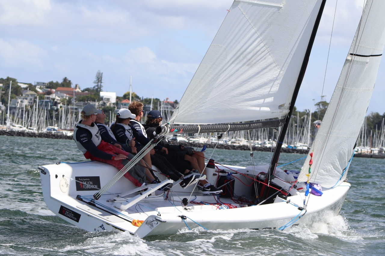 Stevenson sending upwind - Nespresso Youth International Match Racing Cup - Andrew Delves.jpg