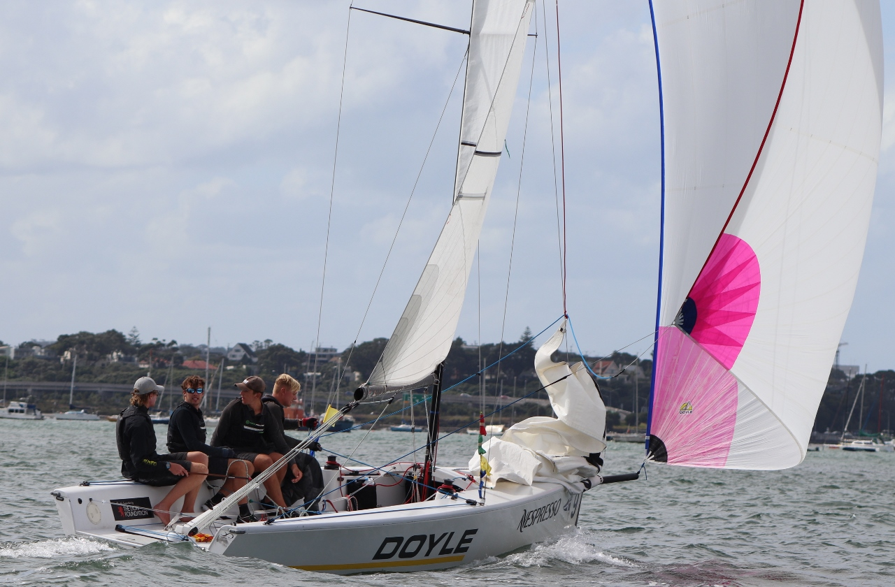 Egnot-Johnson on final downwind - Nespresso Youth International Match Racing Cup - Andrew Delves.jpg