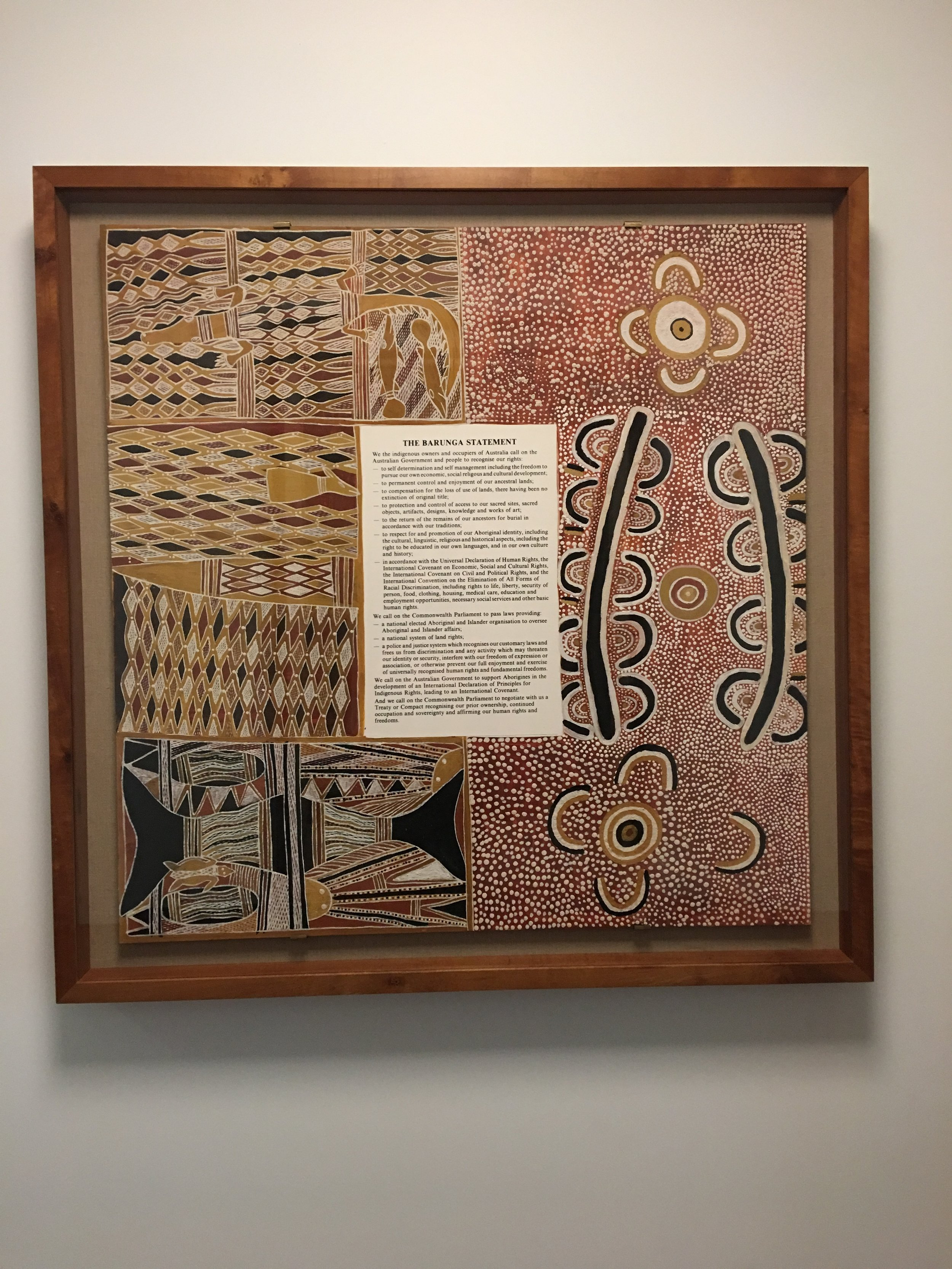Included in the Parliament is a portrait of Senator Bonner, the first Aboriginal Senator in 1971, who famously demonstrated how to throw a boomerang outside parliament.