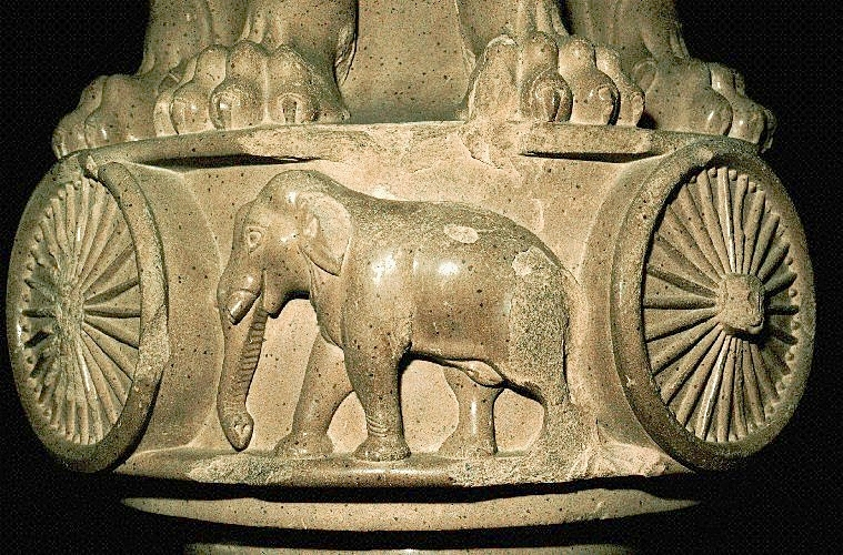 Elephant motif on base