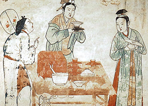 Chinese women making tea, likely from a larger mural (Liao Dynsasty around 1000 BCE)