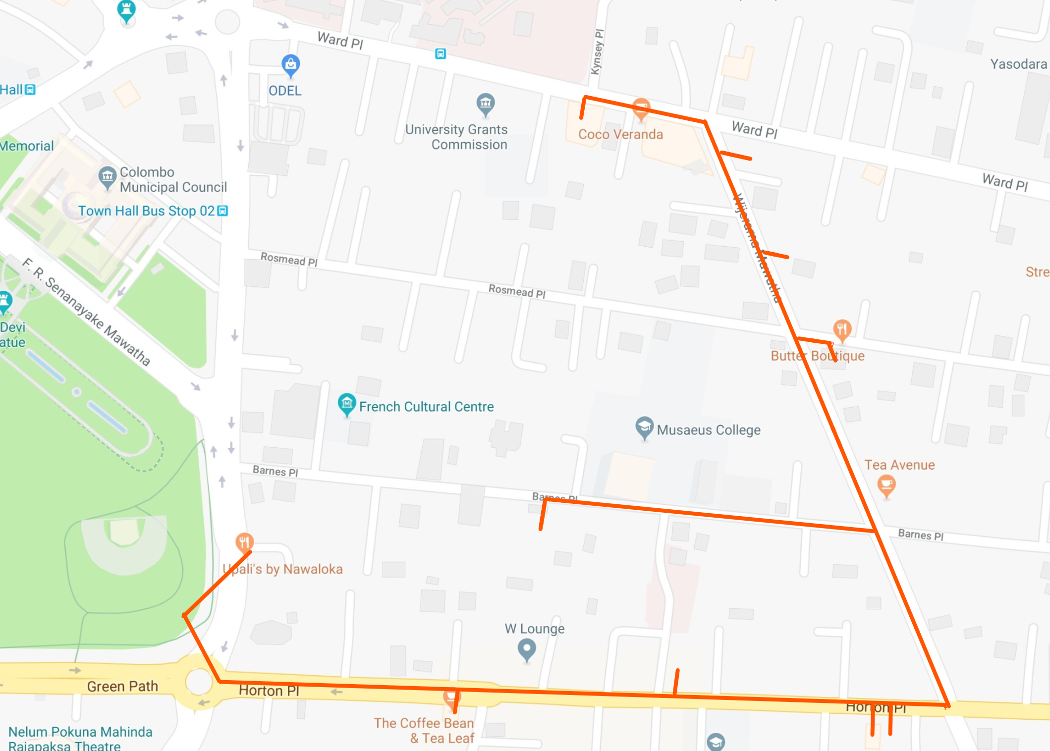Hand drawn itinerary of Colombo shopping guide for the Viharamahadevi Park East district on © Google Maps