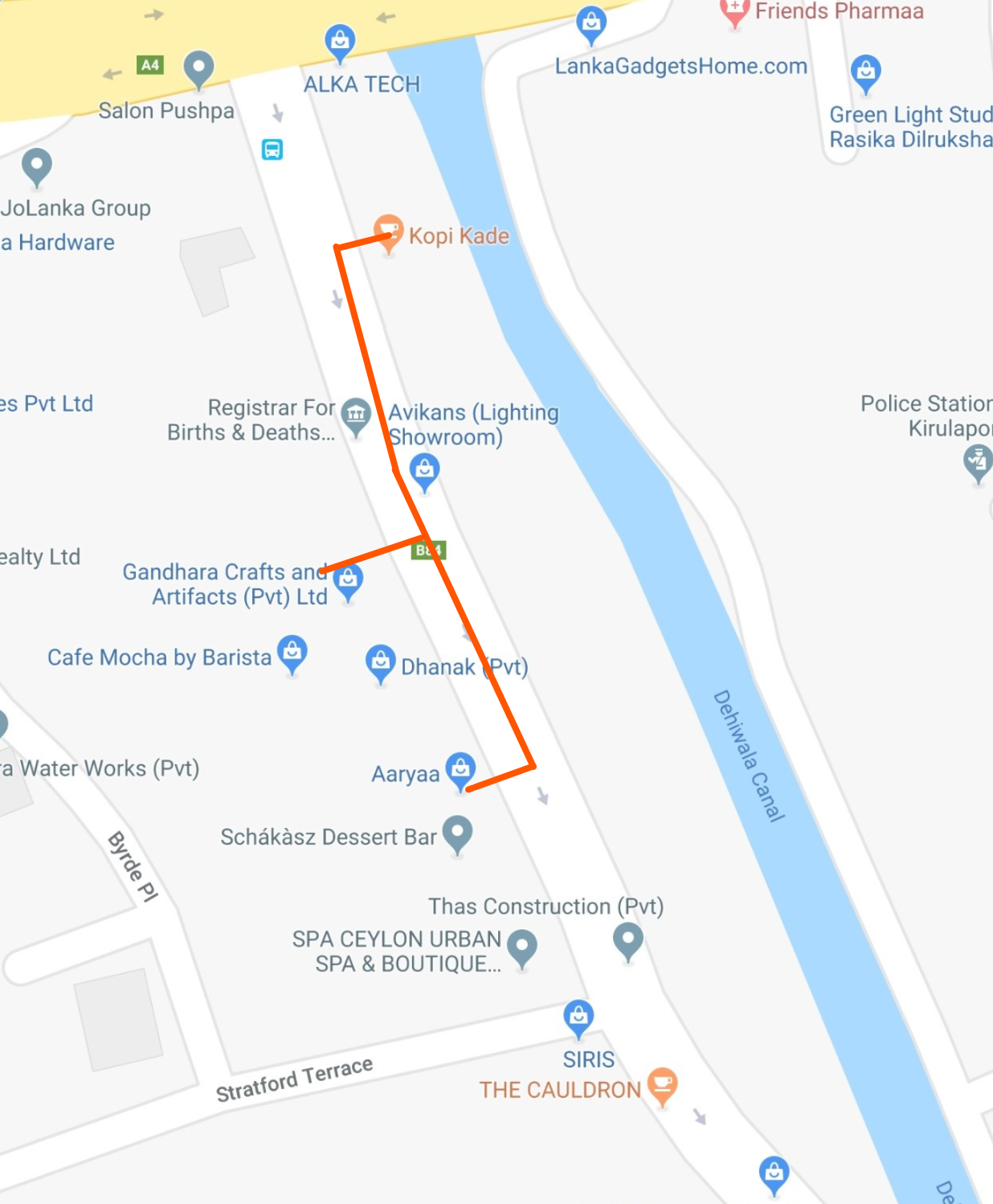 Hand drawn itinerary of Colombo shopping guide for the Colombo 6 Stratford Avenue district on © Google Maps