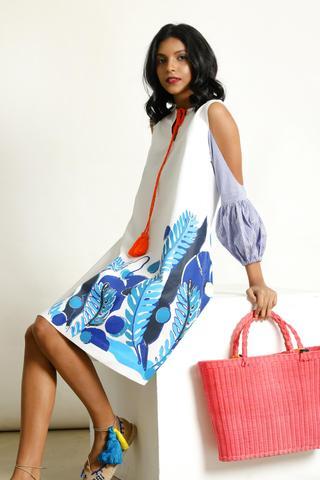 Coral print dress at FMLK
