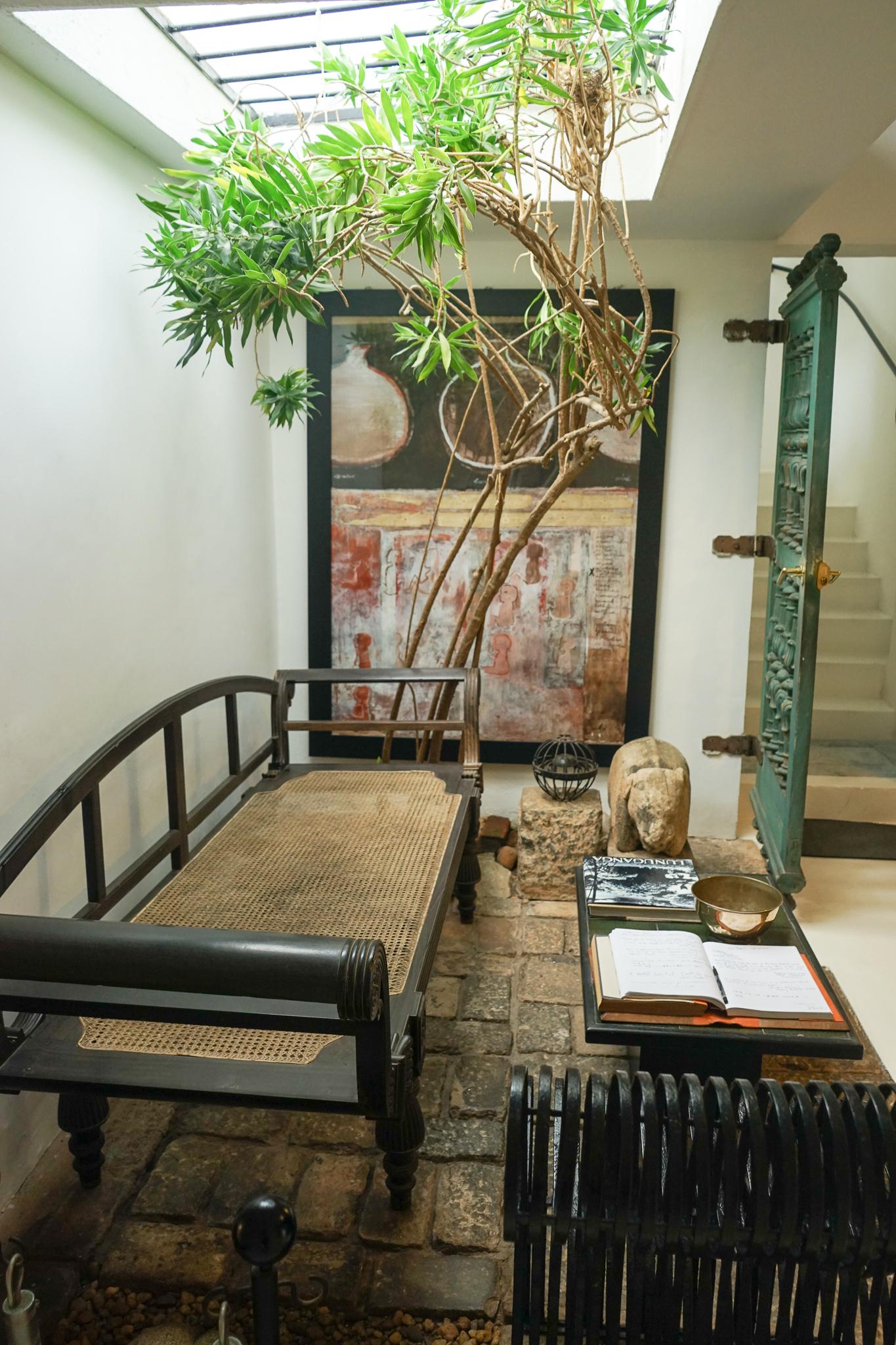 Bawa house: seating at entrance
