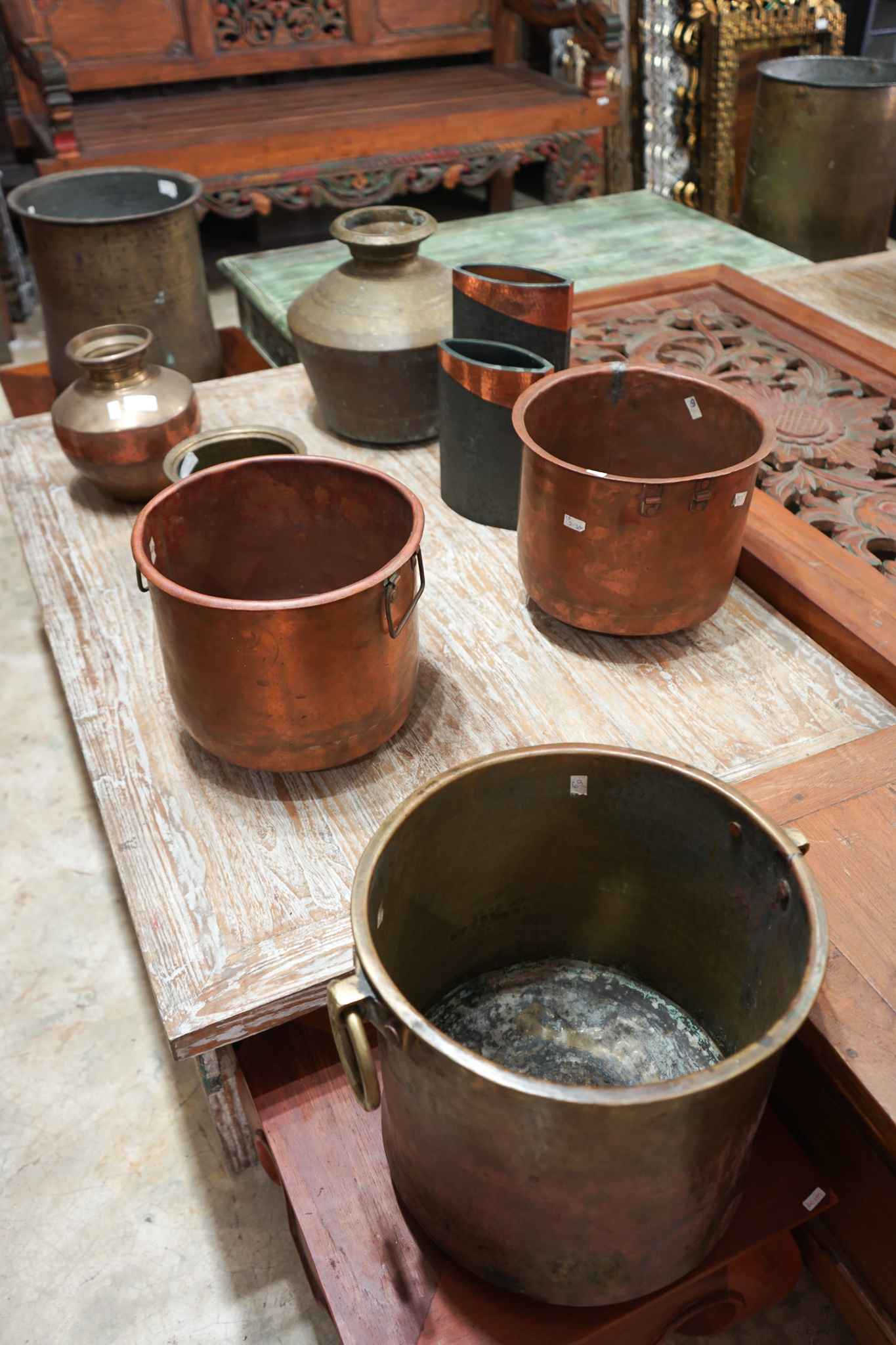 Brass and copper pots