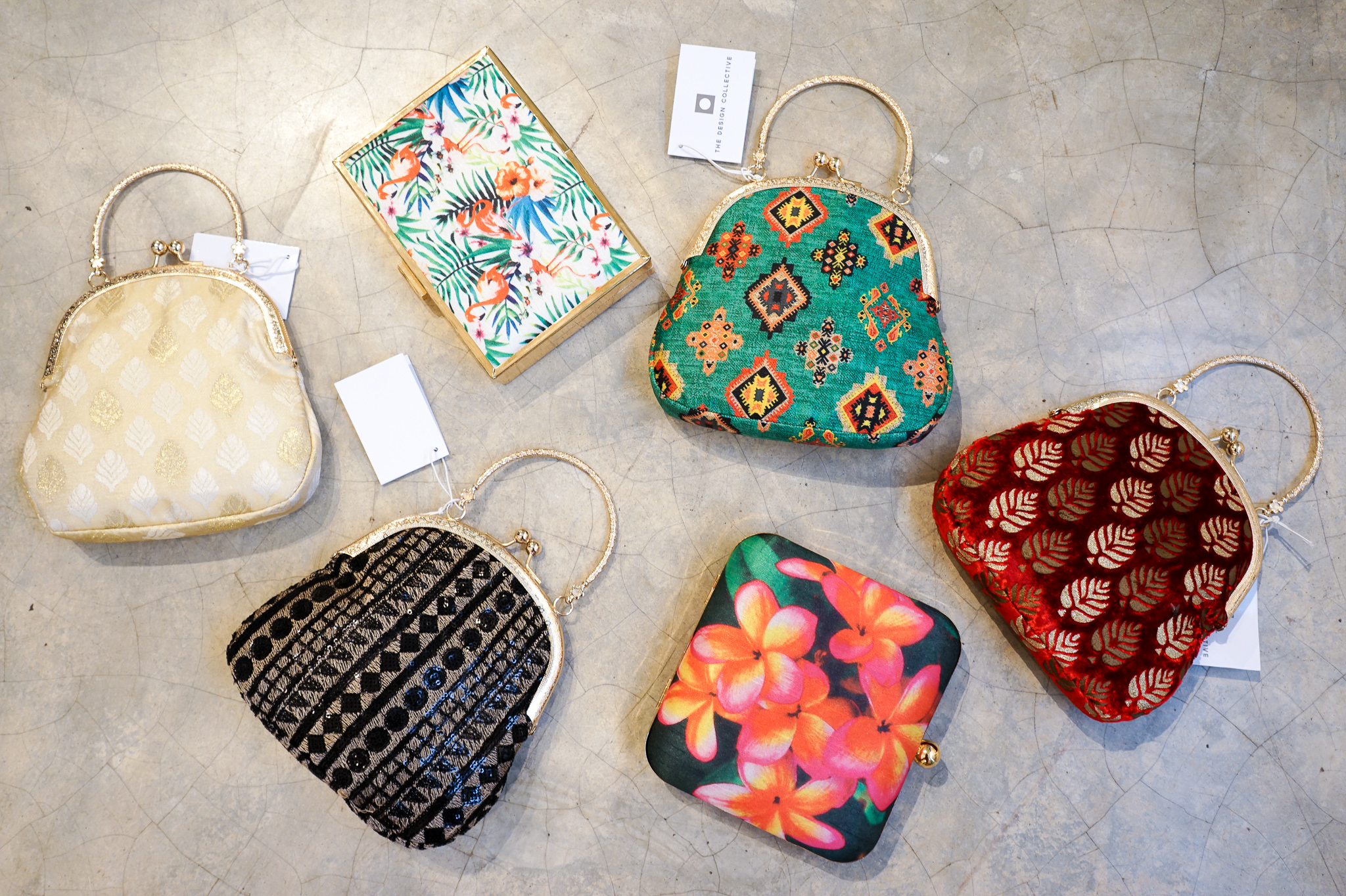 Colombo shopping guide - a selection of purses including Navya clutches at The Design Collective