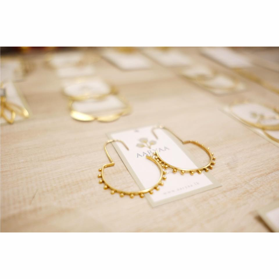 Gold plated silver earrings at Aaryaa