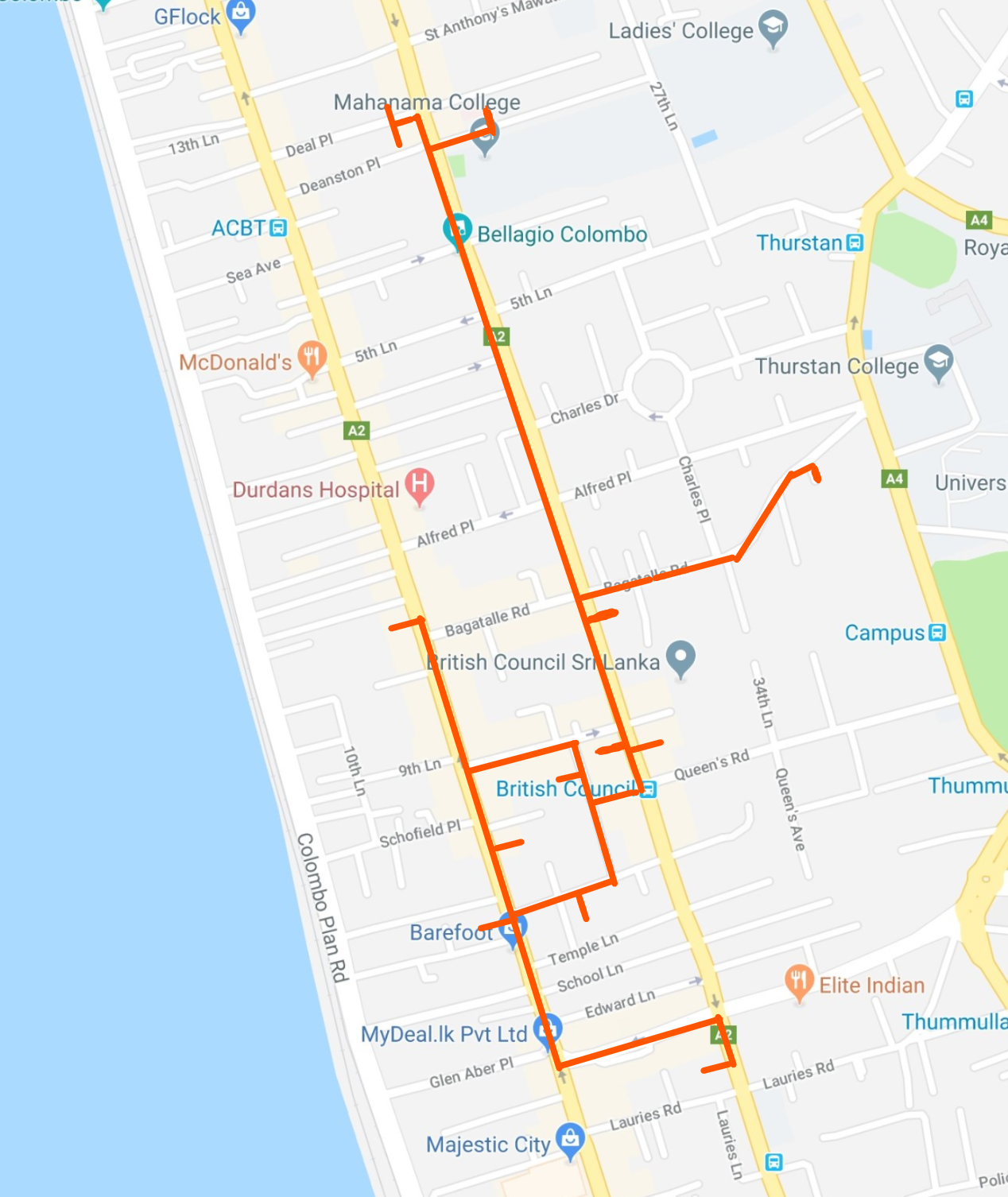 Hand drawn itinerary of Colombo shopping guide for the Colombo 3 South district on © Google Maps
