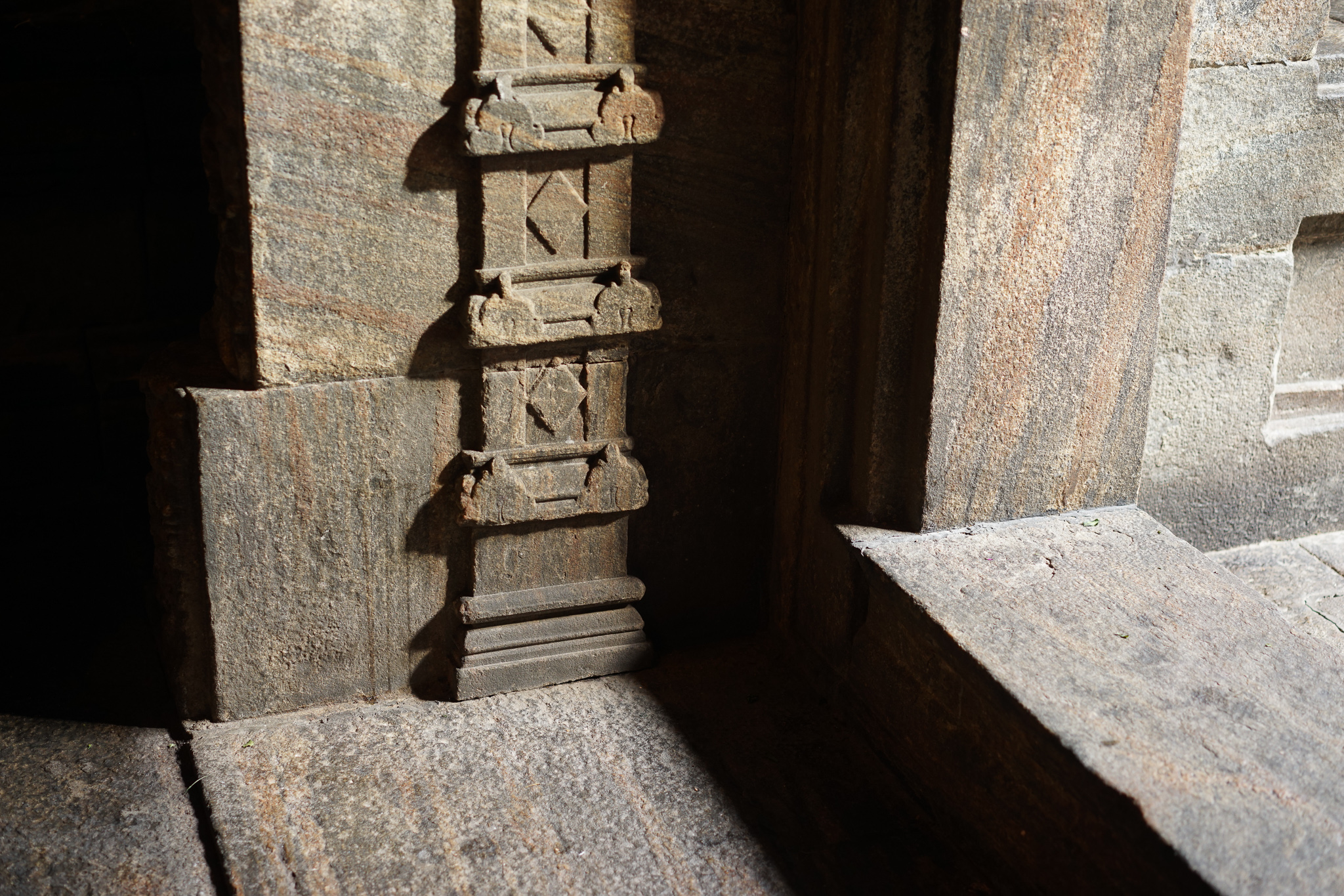 Part of the threshold into the kovil made from South Indian granite
