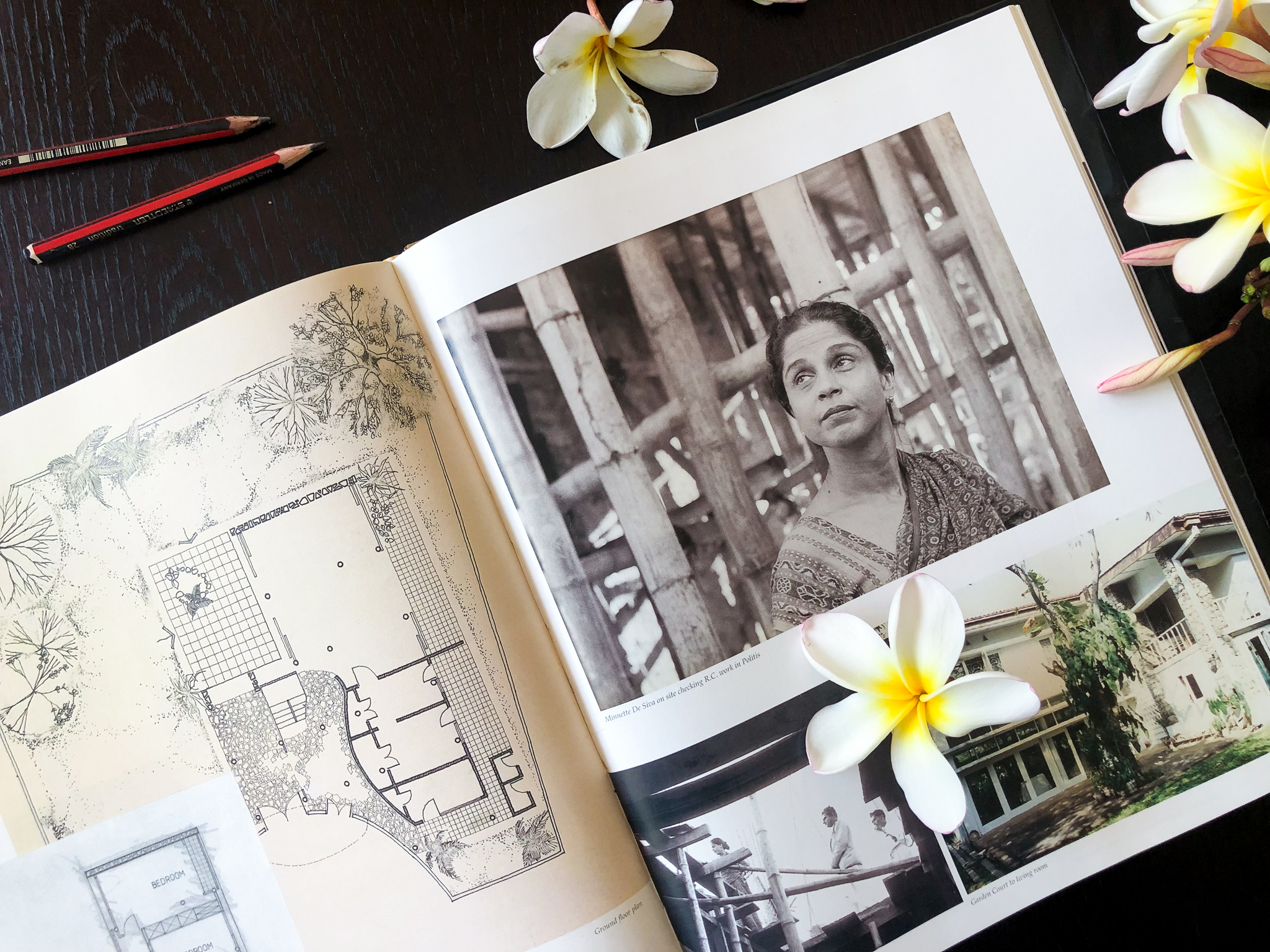"Photograph of a double page in Minnette De Silva's autobiography, ""The Life and Work of an Asian Woman Architect Vol 1"""