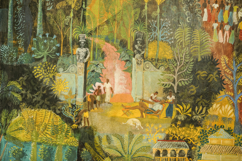 A section of the mural by Donald Friend depicting the history of Sri Lanka (this section is the entrance to the Brief garden)