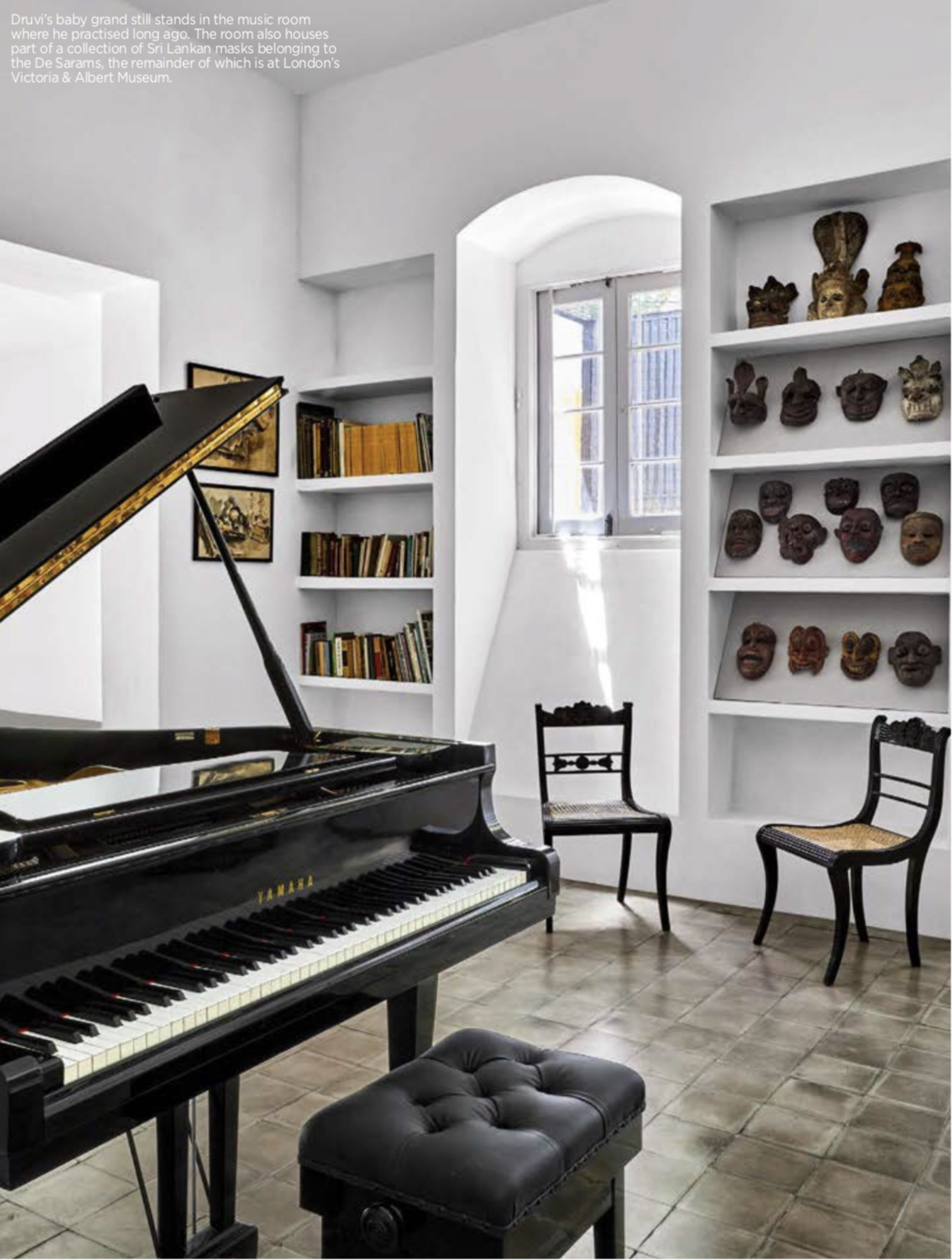Music room and antique mask collection