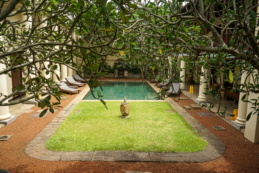 The internal courtyard and pool of the Galle Fort Hotel