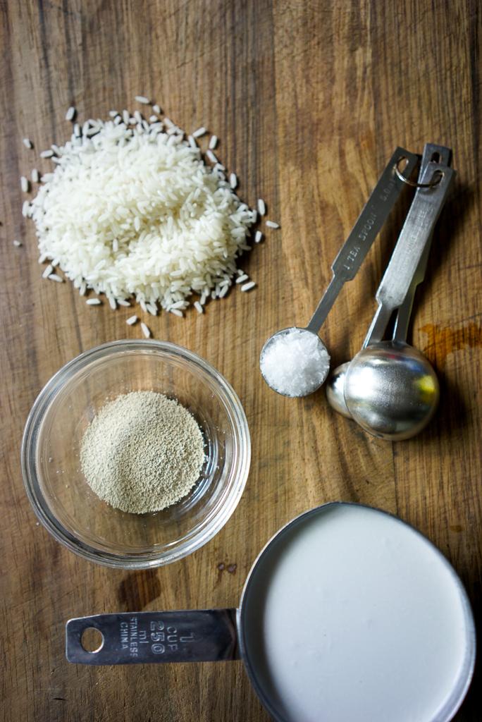 Raw rive, yeast, salt & coconut milk