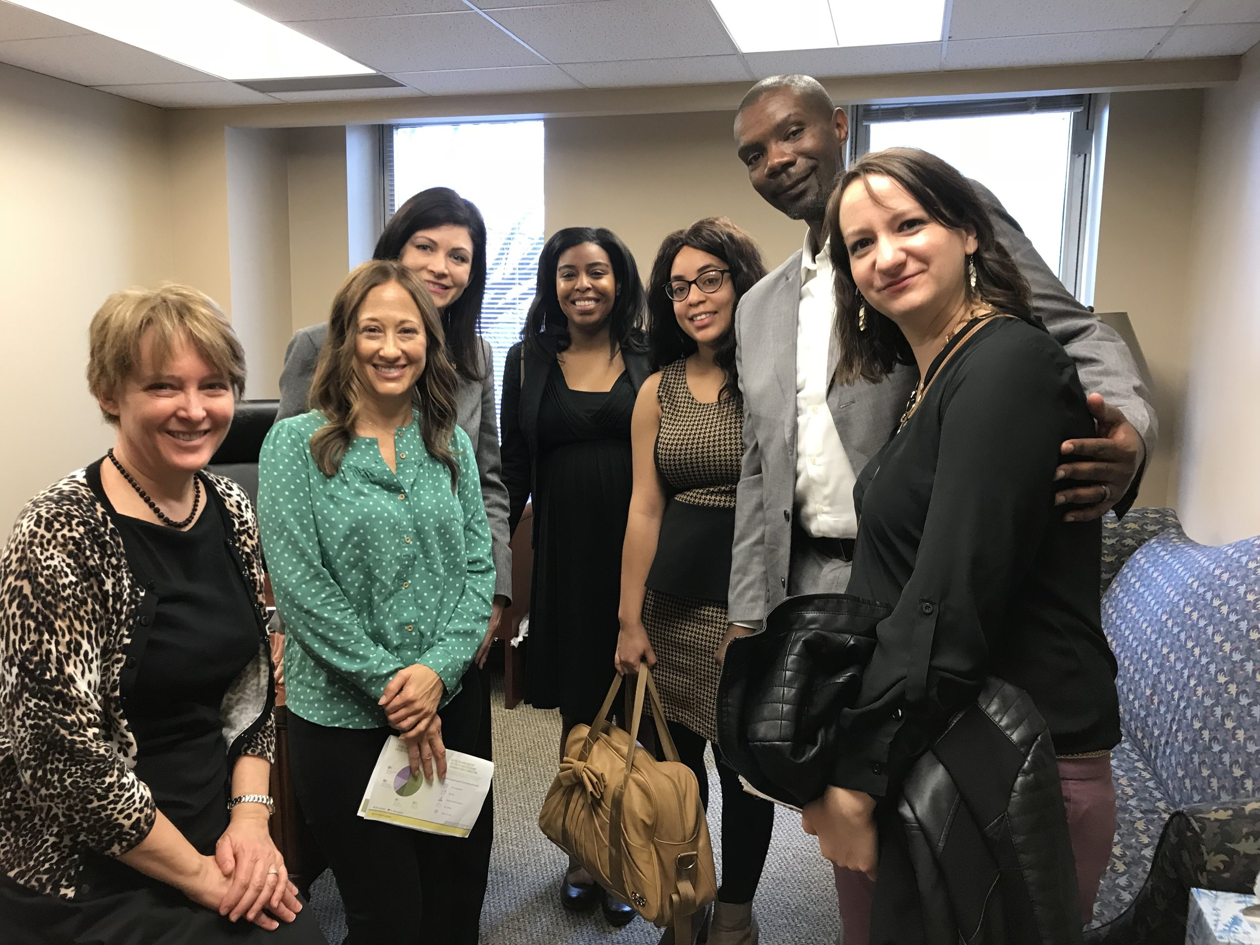 Advocates from Voices for Virginia's Children, Connecting Hearts, Greater Richmond SCAN, foster care alumni and CASA of Central Virginia are pictured with Delegate Delaney, one of the patrons for the House bill proposing a KinGAP program.