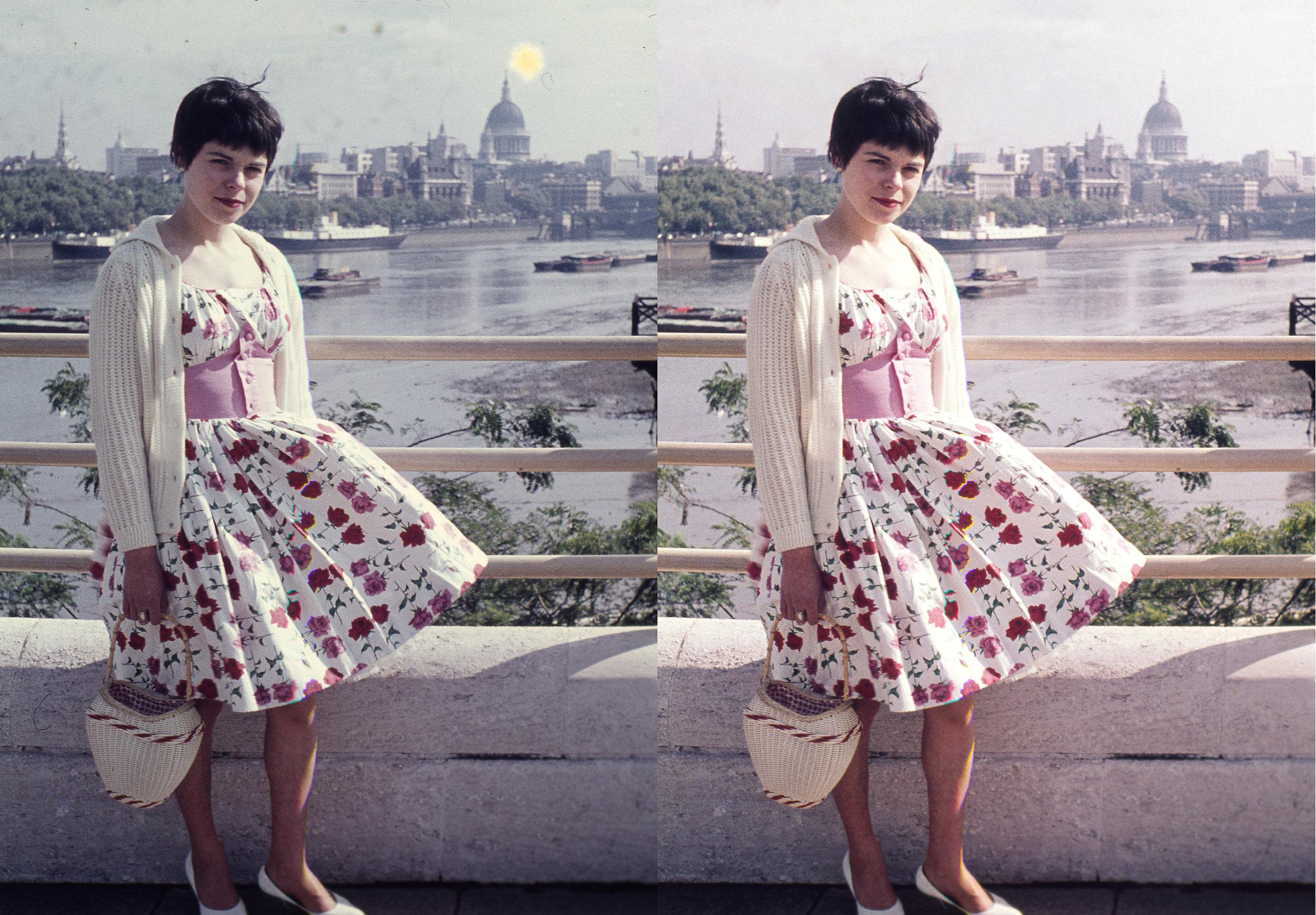 Honeymoon in London, 1959 -  35mm colour positive slide.