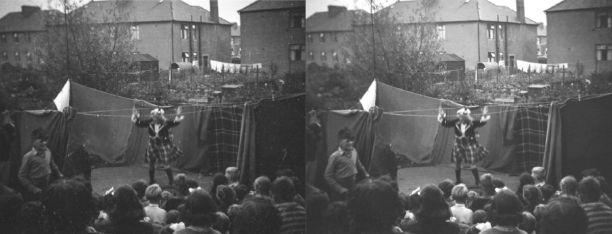 "Back garden show, Sighthill Loan, Edinburgh, ca 1945. - 3 x 2.5"" black and white negative."
