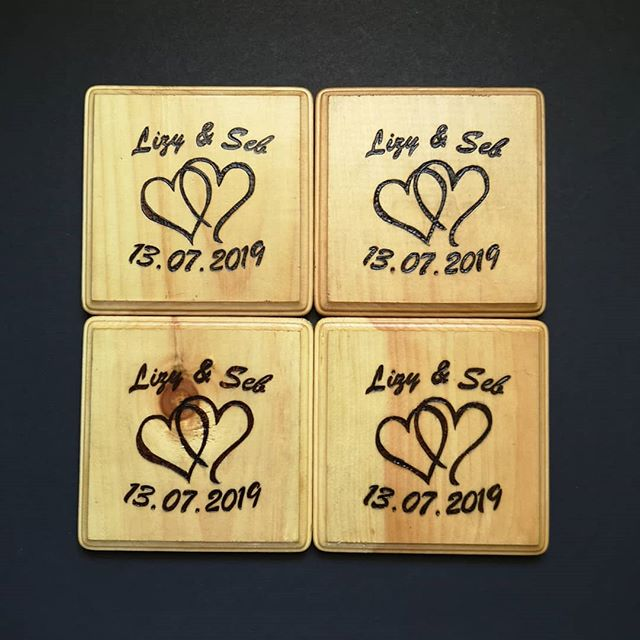 Check out this set of coasters celebrating a new wedding! This may be my first international gift. I was honoured to learn this set was off to a wedding in Scotland for a close and personal friend. We are officially international! My #motivationmonday for today is hoping I get some more orders across the pond like this one! . . . . . #wood #woodburning #pyrography #witteveenwoodburning #witteveenwoodworking #smallbusiness #supportlocal #woodwork #woodburn #woodworking #handcrafted #rusticdecor #weddinggift #wedding #handmade #weddingseason #rustic #livewood #europe #travel #coasterset #niagaraonthelake #coasters
