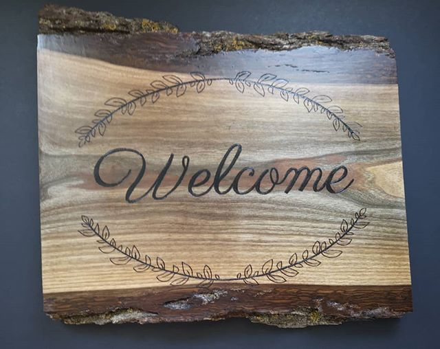 Check out this beautiful, walnut welcome sign we had the pleasure of making a few months back! We love working with walnut? What's your favourite type of wood to work with? . . . . . #wood #woodburning #pyrography #witteveenwoodburning #witteveenwoodworking #smallbusiness #supportlocal #woodwork #woodburn #woodworking #handcrafted #rusticdecor #homedecor #furniture #handmade #project #rustic #livewood #makersgonnamake #madeinontario #reclaimedwood #weddingsign #niagaraonthelake #homeimprovement #walnut
