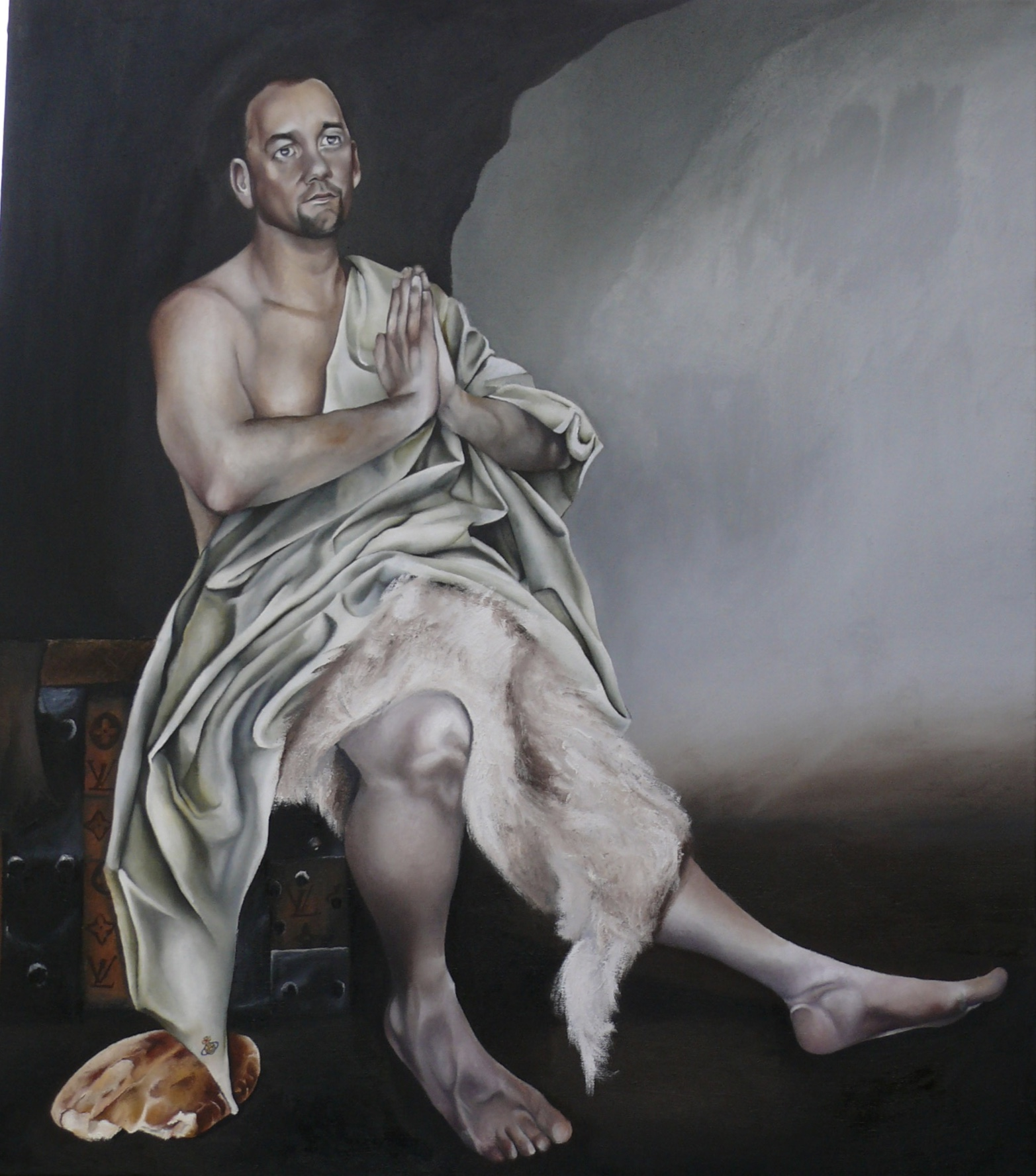The 2009, 'Saints and Sinners' painting Brendan as 'Saint Paul the Hermit'. Paul holds patronage to the fashion industry. Brendan is a stylist and fashion designer. the bread and sheepskin is to represent 'Saint Paul' and the LV suitcase Brendan sits on is to represent #BrendanCourtney