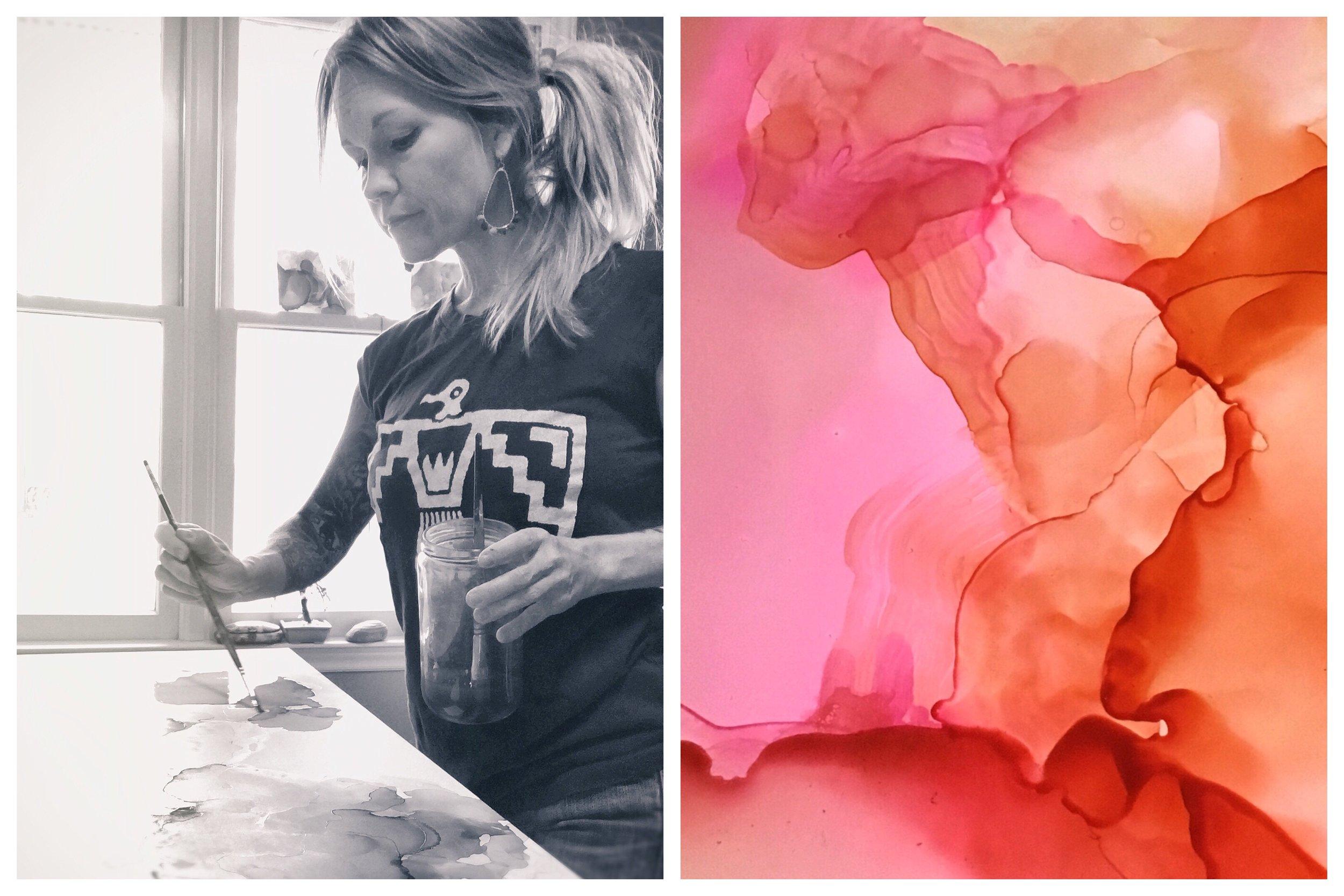 abstract artist amanda moody in her studio