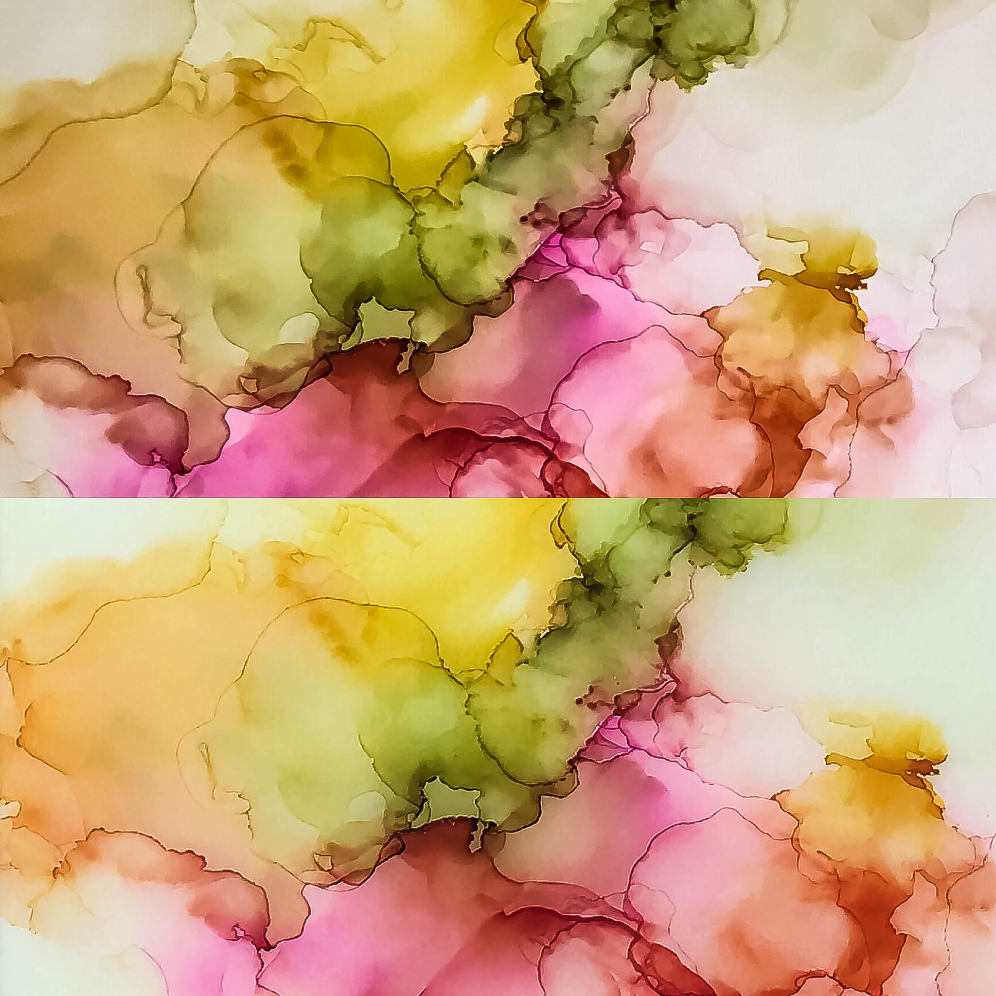 TOP: Alcohol ink before resin application. BOTTOM: Full resin coating over alcohol ink.