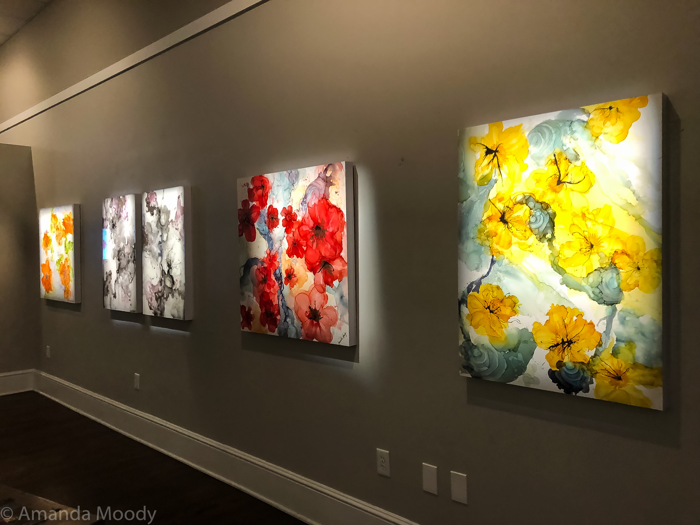 """A few of my pieces at a past show, """"Reverie"""" at AVA Gallery in Davidson, NC."""