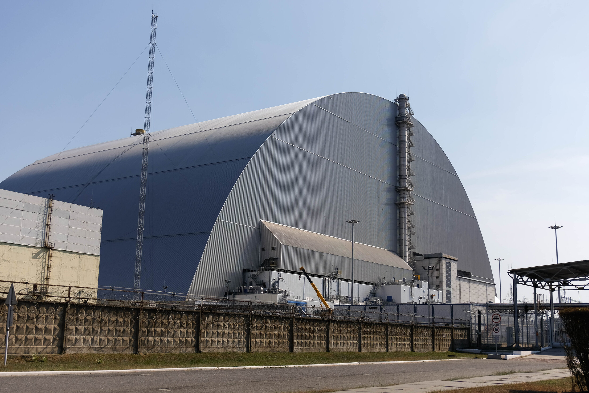 The new safe confinement now housing Chernobyl reactor 4 that exploded in April, 1986