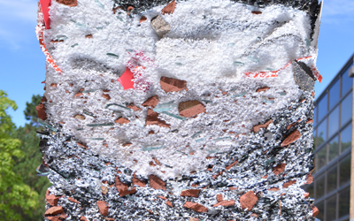Clastic Order ( T+E+A+M - Thom Moran, Ellie Abrons, Adam Fure, Meredith Miller / University of Michigan): a new architectural order made of plastiglomerate, an agglomerate of rock with reprocessed waste plastics.